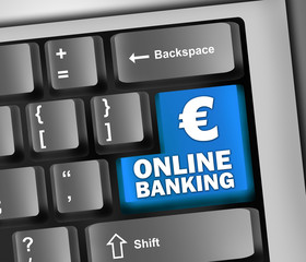 "Keyboard Illustration ""Online Banking (Euro Sign)"""