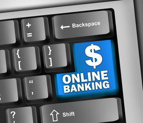 "Keyboard Illustration ""Online Banking (Dollar Sign)"""