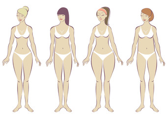Set of female body types