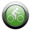 "Green Metallic Orb Button ""Bicycle Symbol / Bicycle Trail"""