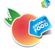 Icon peach with arrow by organic food. Vector illustration.