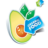 Icon avocado with arrow by organic food. Vector illustration