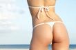 Sexy butt in thong bikini on female bikini model