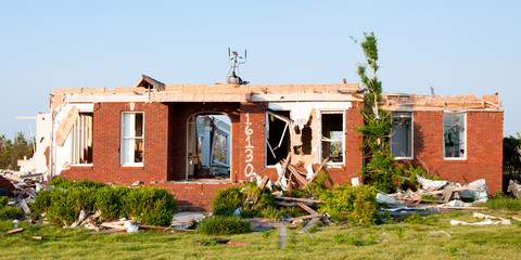 Tornado-damaged home in northern Alabama