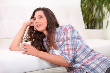 Woman relaxing with a cuppa