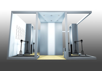3d render of a blank trade exhibition booth