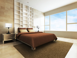 Modern bedroom in minimalist style