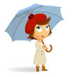 Young woman with umbrella on white background