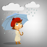 Young woman with umbrella on rain background