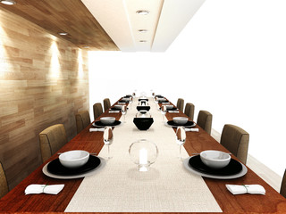 Modern dinning area design in 3D rendering