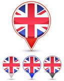 set of unite kingdom buttons isolated on white