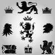 Set of lion and crown heraldry