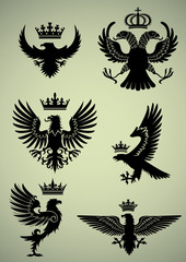 Set of eagle and crown