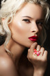 Sensuality woman with fashion make-up and big bright ring