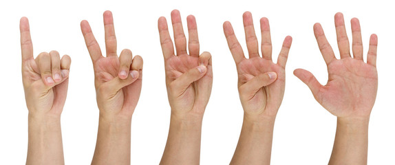 man's finger pointing from one to five