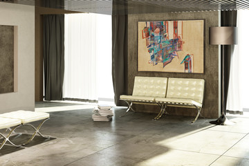 Loft with an abstract painting