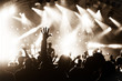 canvas print picture - hands raised by the crowd at a live music concert