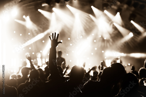 hands raised by the crowd at a live music concert - 33640200