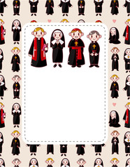 cartoon Priest and nun card