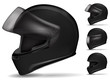 set of black motorcycle helmet isolated on white