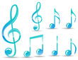 set of glossy blue music note isolated on white