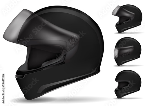 set of black motorcycle helmet isolated on white
