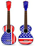 set of usa classical acoustic guitar isolated on white