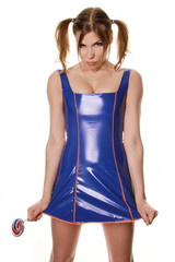 Pretty Daddy Girl With Big Candy Wearing Blue PVC Dress