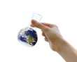 Hand holding the Earth in a flask