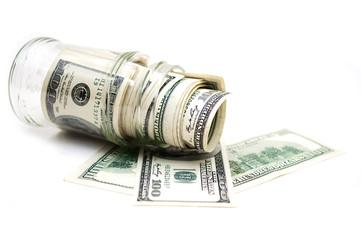 dollars in money jar