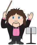 A musical conductor with baton