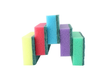 Color sponges over white