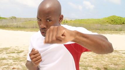 Slow motion boxing towards camera