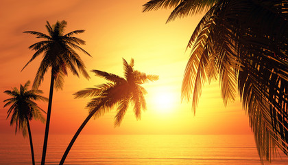 Die Trauminsel bei Sonnenuntergang