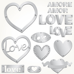 Plate LOVE silver heart vector illustration