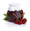 Cherry jam isolated on white background