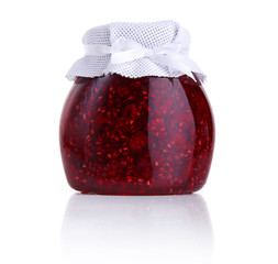 Raspberry jam isolated on white