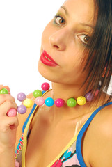 Beautiful girl with colorful necklace