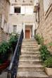 Mediterranean stone house with steps