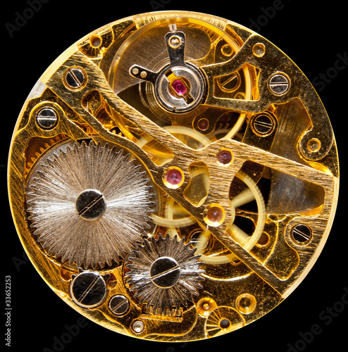 Interior of antique hand wound watch - 33652253