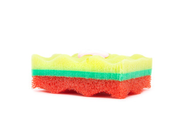 colorful sponge with shower gel