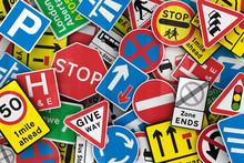 Chaotic collection of many British traffic signs