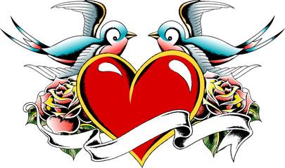 bird and heart tattoo design