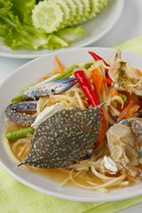 Papaya salad with blue crab