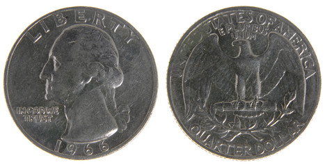 Old Worn US Quarter