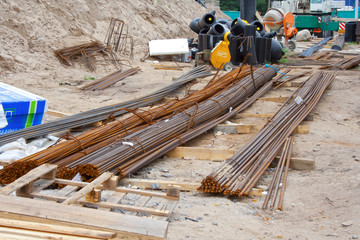 Reinforcing bars in construction site