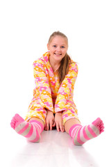 sitting girl with pink sox