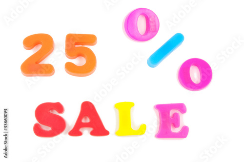 25% sale written in fridge magnets on white background