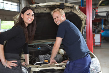 Female Customer with Mechanic