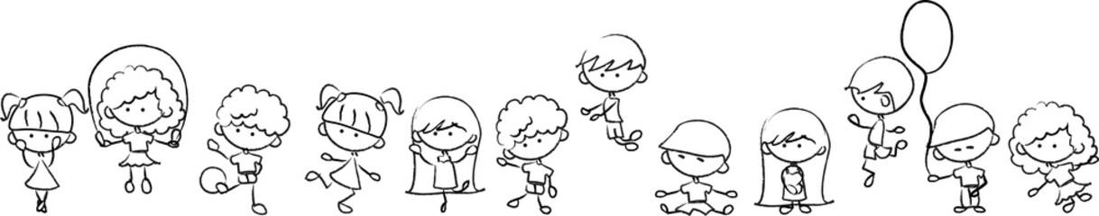Счастливые милые дети играют, танцуют, прыгают, вектор